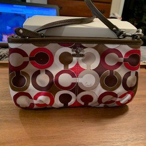 Coach Madison RED Sateen Large Wristlet